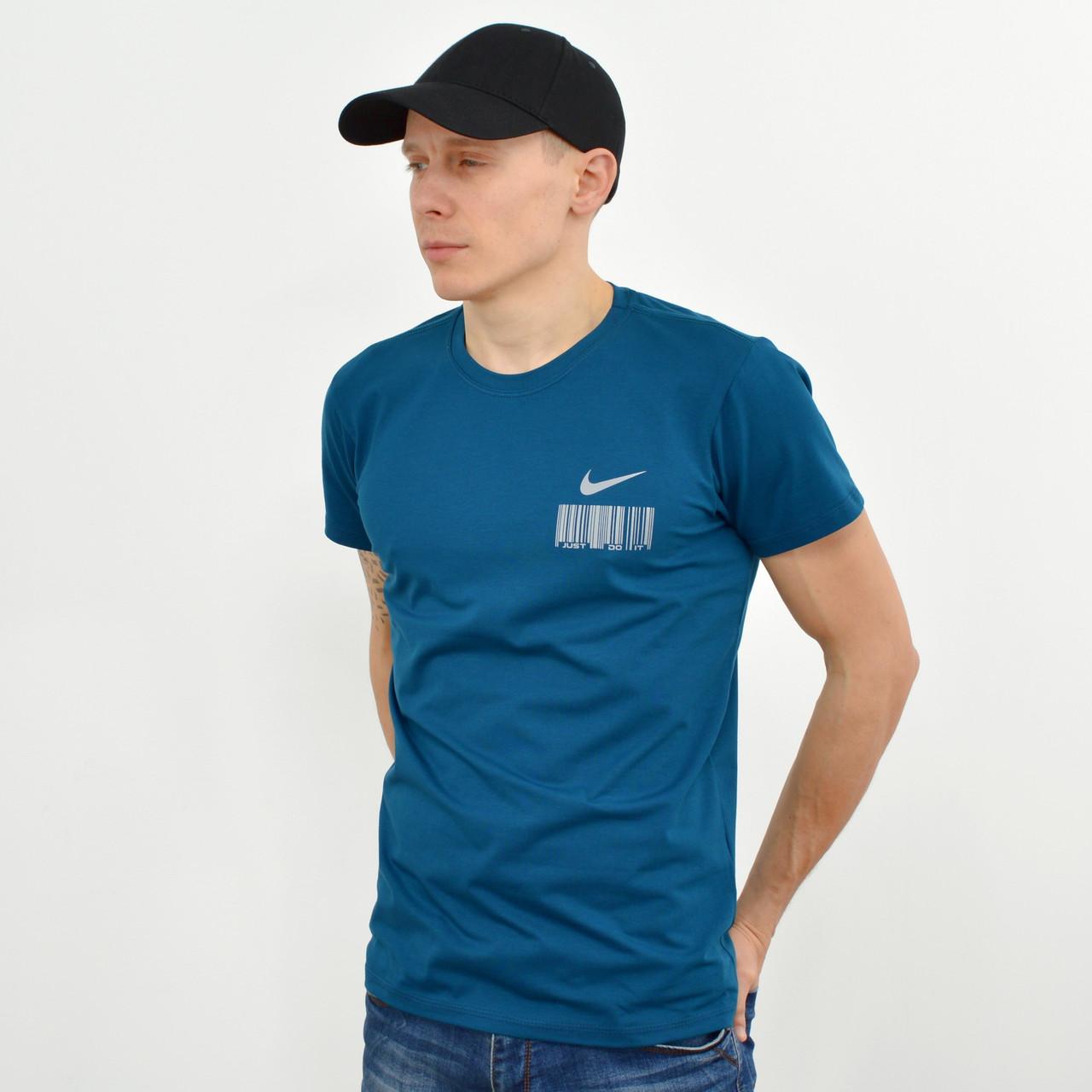 Мужская футболка с накаткой Nike (реплика) морская волна