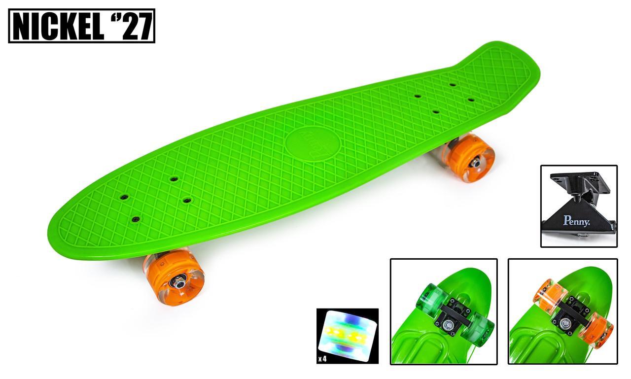 Пенні борд нікель 27 Green Зелений світяться колеса