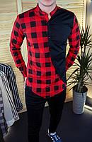 Мужская рубашка красная в клетку с черным 8 цветов в наличии