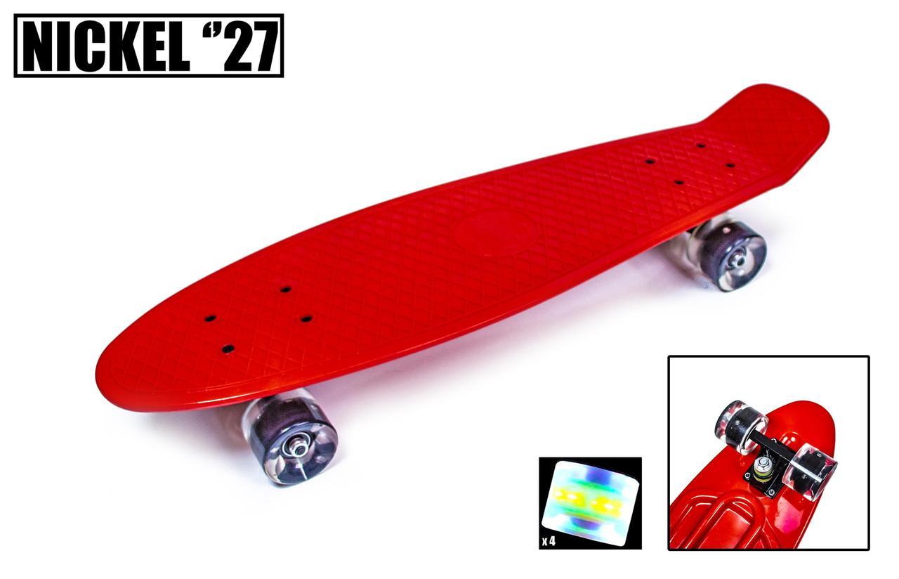 Пенни борд никель 27 Красный светящиеся колеса