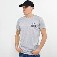 Мужская футболка с накаткой Nike (реплика) светлый серый, фото 1