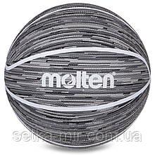 Мяч баскетбольный резиновый №7 MOLTEN B7F1600-KW (резина, бутил, серый)