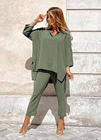 Жіночий модний весняний костюм зі штанами норма і батал новинка 2021