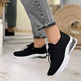 Женские черные кроссовки текстильные на белой подошве, фото 4