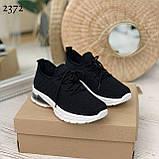 Женские черные кроссовки текстильные на белой подошве, фото 3
