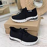 Женские черные кроссовки текстильные на белой подошве, фото 5