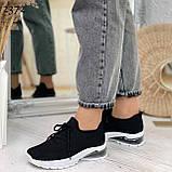 Женские черные кроссовки текстильные на белой подошве, фото 2