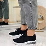 Женские черные кроссовки текстильные на белой подошве, фото 6