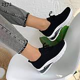 Женские черные кроссовки текстильные на белой подошве, фото 7