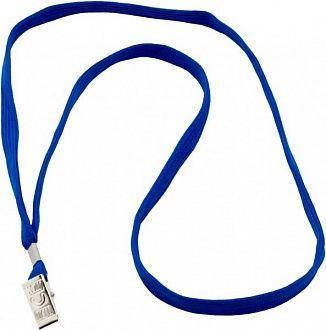 Шнурок для бейджа ТМ Optima с прижимом, синий цвет