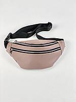 Бежева поясна сумка жіноча півмісяцем з екошкіри 12PSx10, фото 1