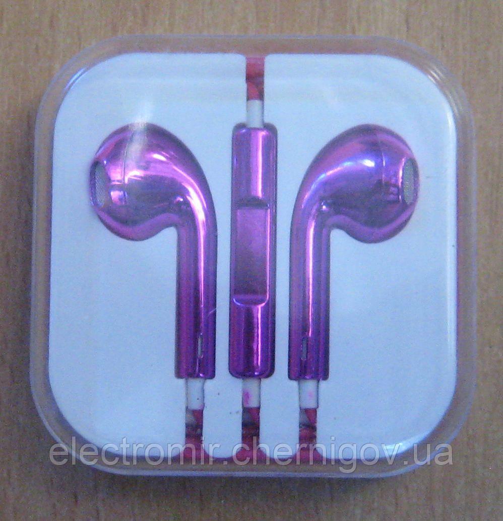 Вставні навушники дротові з мікрофоном фіолетові