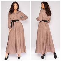 Женское модное платье в пол длинный рукав принт горох софт размер батал: 50-52, 54-56,58-60, 62-64