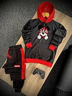 Спортивный костюм Суприм черно-красного цвета