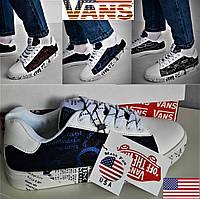 Низкие кеды Ванс, Vans of the wall, США. Фирменные женские, мужские, кроссовки американские.