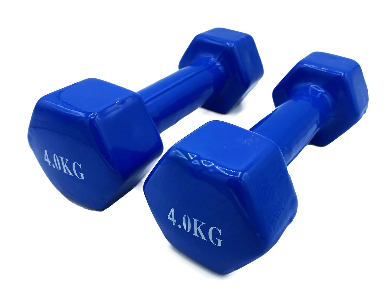 Гантели, пара по 4кг, общий вес 8кг, для фитнеса