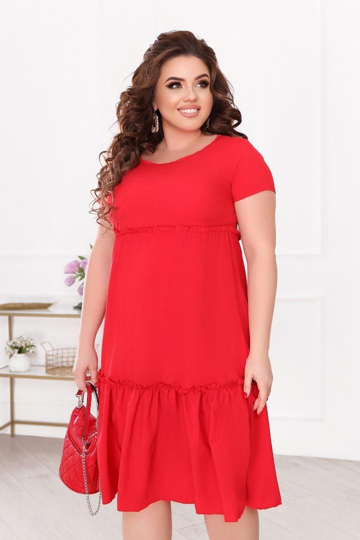 Женское платье батал, евро софт, р-р 50; 52; 54; 56 (красный)