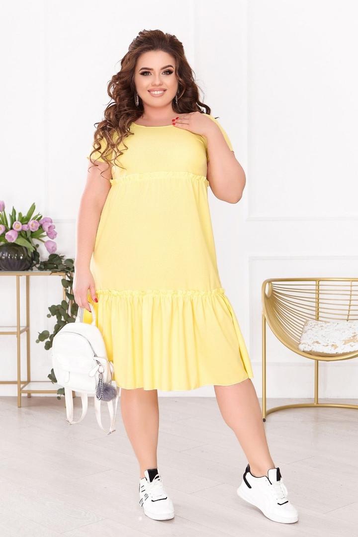 Женское платье батал, евро софт, р-р 50; 52; 54; 56 (жёлтый)