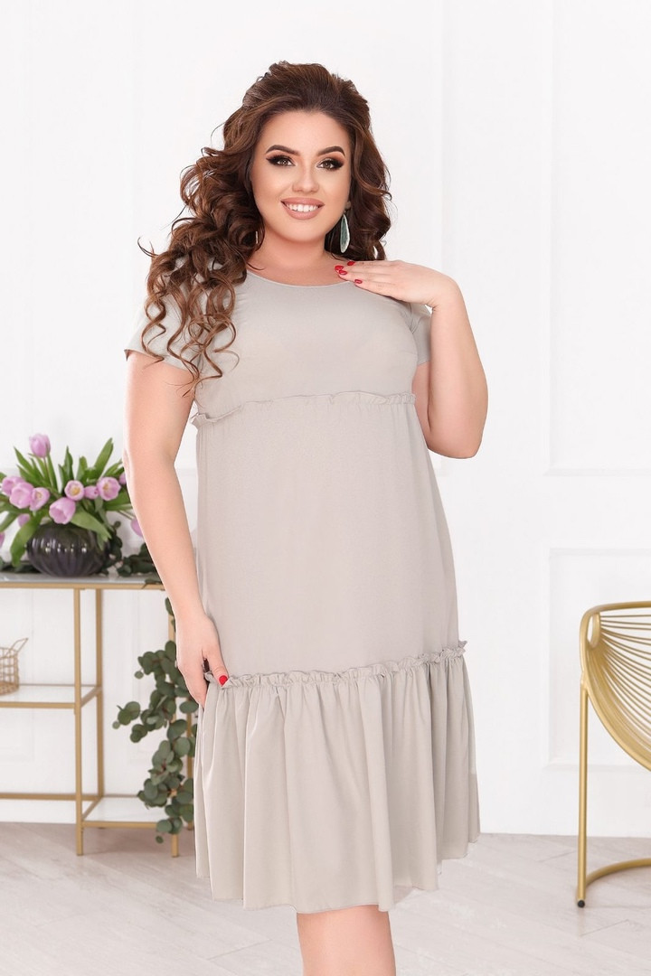 Женское платье батал, евро софт, р-р 50; 52; 54; 56 (оливка)