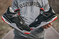 Мужские кроссовки Nike Air Jordan Retro 4 Bred найк аир джордан ретро 4 реплика