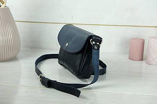Сумка женская. Кожаная сумочка Мия, Кожа Итальянский краст, цвет Синий, оттиск №2, фото 3