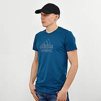 Чоловіча футболка з накаткою Adidas (репліка) морська хвиля