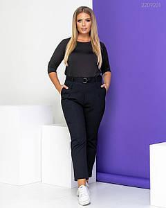 Женские джинсы высокой посадки чёрные с поясом 50, 52