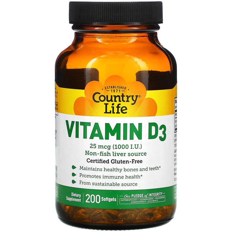 """Вітамін D3 Country Life """"Vitamin D3"""" 1000 МО (200 капсул)"""