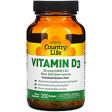 "Витамин D3 Country Life ""Vitamin D3"" 1000 МЕ (200 капсул)"