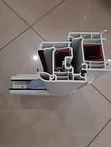 Двустворчатое окно ПВХ Veka EuroLine с фрамугой, фото 3