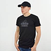 Чоловіча футболка з накаткою Adidas (репліка) чорний
