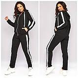 Женский весенний спортивный костюм кофта на молнии и штаны двухнить размеры батальные от 50 до 62, фото 2