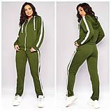 Женский весенний спортивный костюм кофта на молнии и штаны двухнить размеры батальные от 50 до 62, фото 3