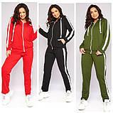 Женский весенний спортивный костюм кофта на молнии и штаны двухнить размеры батальные от 50 до 62, фото 7