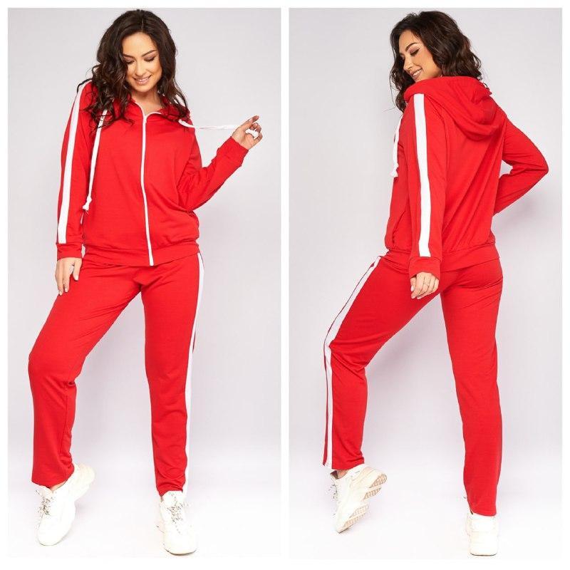 Женский весенний спортивный костюм кофта на молнии и штаны двухнить размеры батальные от 50 до 62