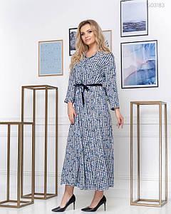 Женское Платье в цветочный паттерн голубой Нара 48, 50, 52