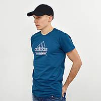 Мужская футболка с накаткой Adidas (реплика) морская волна+белый