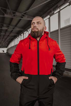 Чоловічий костюм червоно-чорний демісезонний Intruder Softshell Light Куртка чоловіча червона, штани сині чорні, фото 2
