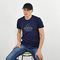 Чоловіча футболка з накаткою Adidas (репліка) синій, фото 1