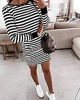 Платье молодежное для девушек в полоску ркав на манжете Морячкаразмер42-48,цвет черный с белым