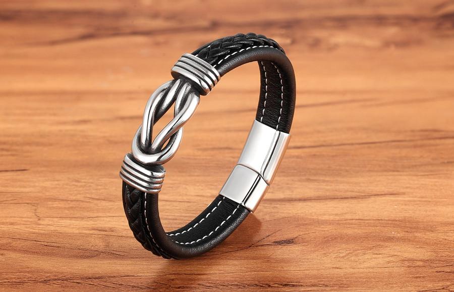 Чоловічий шкіряний браслет