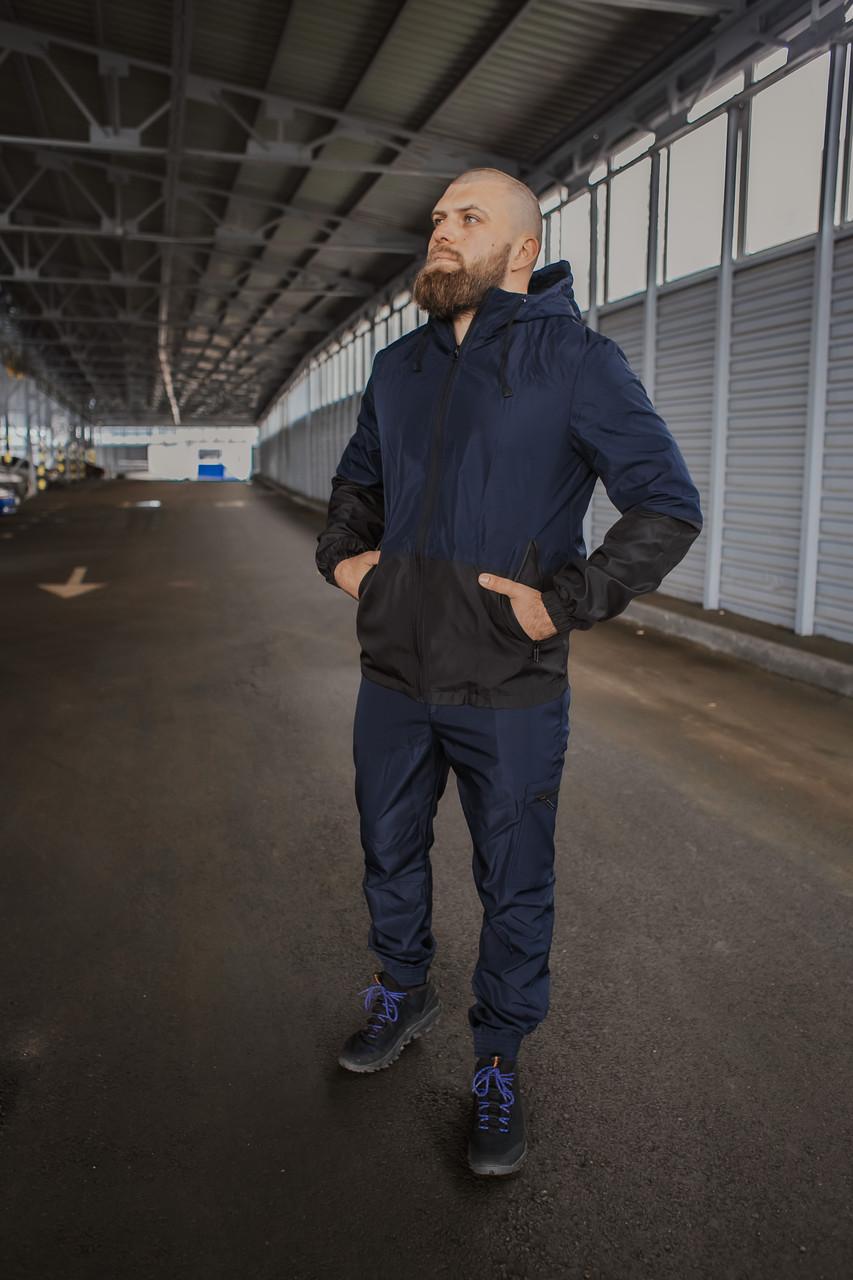 Чоловічий костюм синьо-чорний демісезонний Intruder Softshell Light Куртка чоловіча синя, сині штани чорні