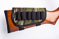 Патронташ на приклад 6 патронів. камуфляж тканина Камуфляж 12, 16 калібр, фото 1