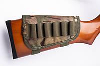 Патронташ на приклад 6 патронів. камуфляж тканина Хакі 12, 16 калібр, фото 1
