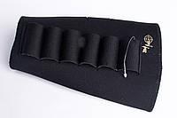 Патронташ на приклад из неопрена черный 12, 16 калибр, фото 1