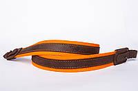 Ремінь на рушницю брезент помаранчевий + шкіра Ретро 90см
