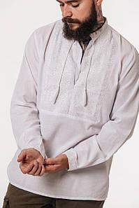 Белая вышиванка Низинка с белым орнаментом