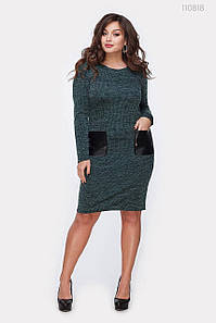 Платье женское с кожаными карманами Сопот малахитовое 48р