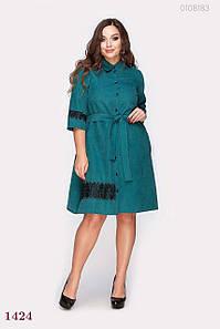 Платье женское рубашка с кружевом Перудт изумрудное 48р