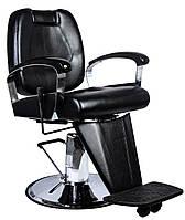 Перукарський стілець барбершопера з еко шкіри Barber King чорне LEON